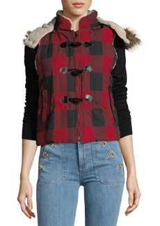 Saks Fifth Avenue Faux Fur-Trimmed Plaid Toggle Cotton Vest