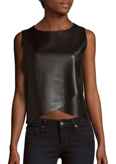 Saks Fifth Avenue Faux Leather Sleeveless Wrap-style Top