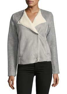 Saks Fifth Avenue Faux Suede Sherpa Jacket