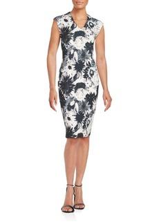 Saks Fifth Avenue BLACK Floral Print Sheath Dress