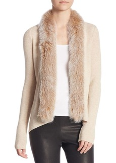 Saks Fifth Avenue COLLECTION Fox Fur-Trimmed Cascading Cardigan