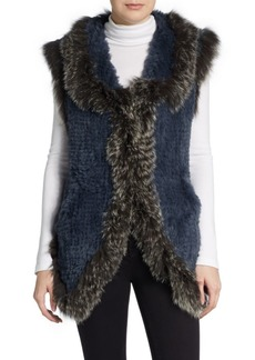 Saks Fifth Avenue Fox-Trimmed Rabbit Fur Vest