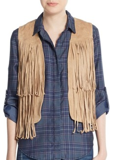Saks Fifth Avenue Fringed Faux Suede Vest