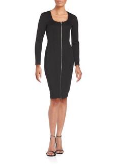 Saks Fifth Avenue BLACK Front Zip Long Sleeve Bodycon Dress
