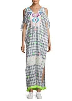 Saks Fifth Avenue BLUE Geometric-Print Cold-Shoulder Cotton Dress