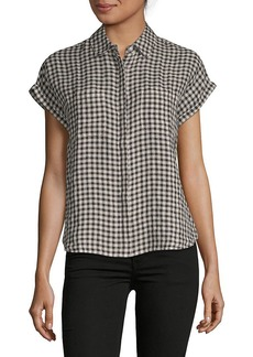 Saks Fifth Avenue Gingham Boxy Button-Down T-Shirt