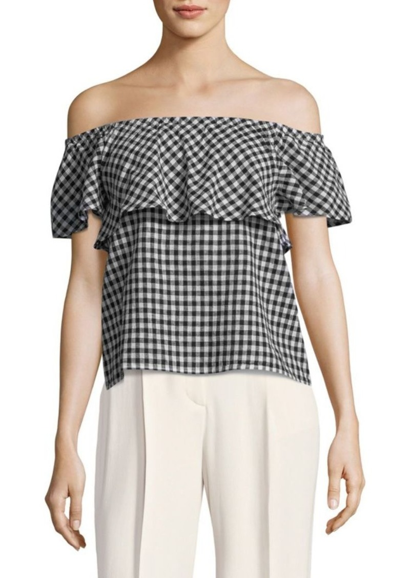 a2ae0df0f0d4c8 On Sale today! Saks Fifth Avenue Gingham Off-Shoulder Top