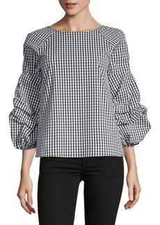 Saks Fifth Avenue Gingham Ruffle Sleeve Blouse