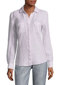 Saks Fifth Avenue Hi-Lo Linen Button-Down Shirt