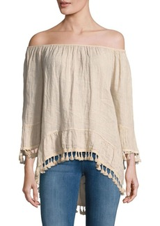 Saks Fifth Avenue Hi-Lo Linen Off-The-Shoulder Top