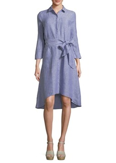 Saks Fifth Avenue Hi-Lo Linen Shirtdress