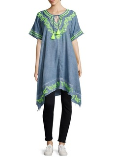 Saks Fifth Avenue BLUE Hibiscus Embroidered Asymmetric Cotton Tunic
