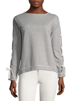 Saks Fifth Avenue Lace-Up Long-Sleeve Sweater