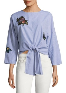 Saks Fifth Avenue Lalita Floral and Butterfly Patch Blouse