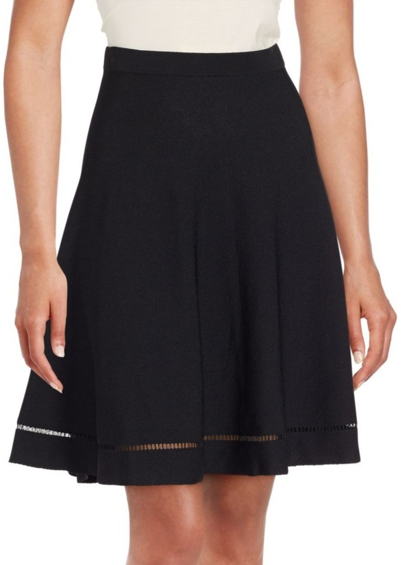 Saks Fifth Avenue BLACK Lattice-Stitched Swing Skirt