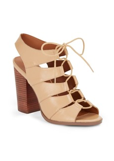 Saks Fifth Avenue Leather Lace-Up Chunky Heel Sandals