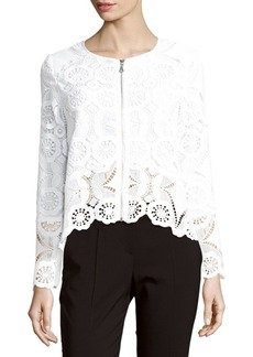 Saks Fifth Avenue RED Long-Sleeve Lace Bomber Jacket