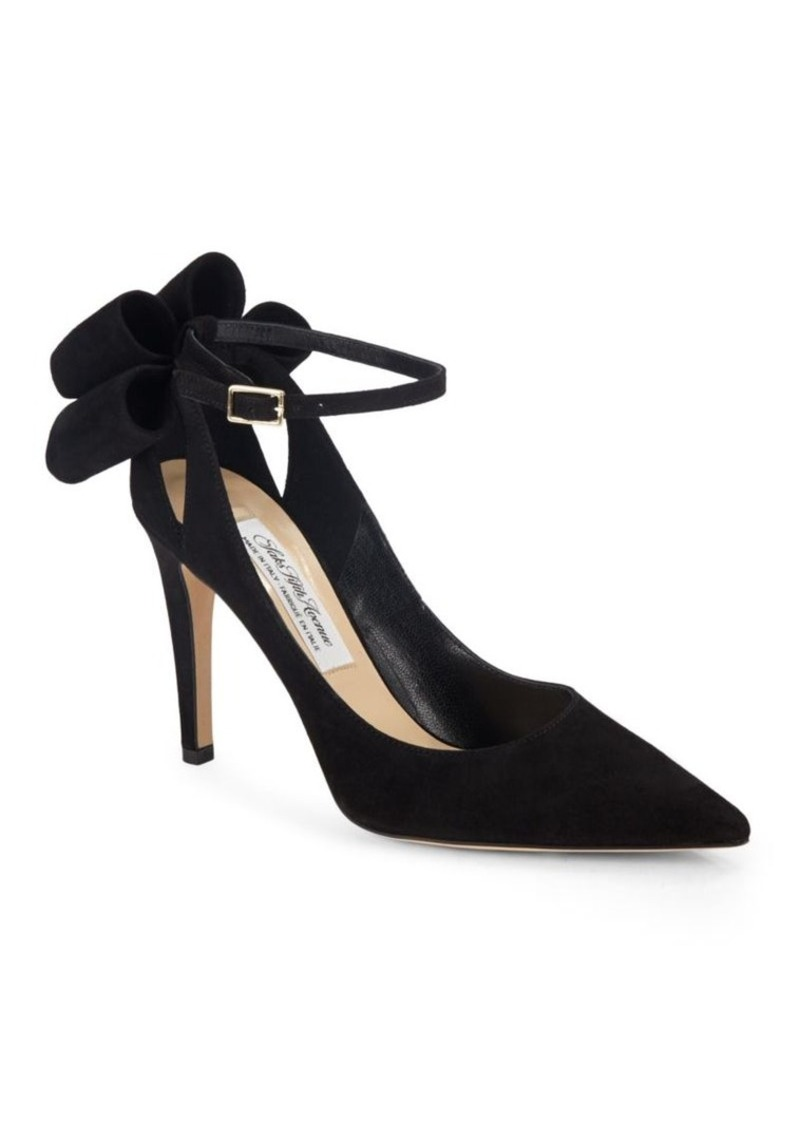 Saks Fifth Avenue Made in Italy Bow Ankle Strap Suede Pumps