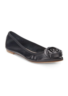 Saks Fifth Avenue Made in Italy Leather Rosette Point Toe Flats