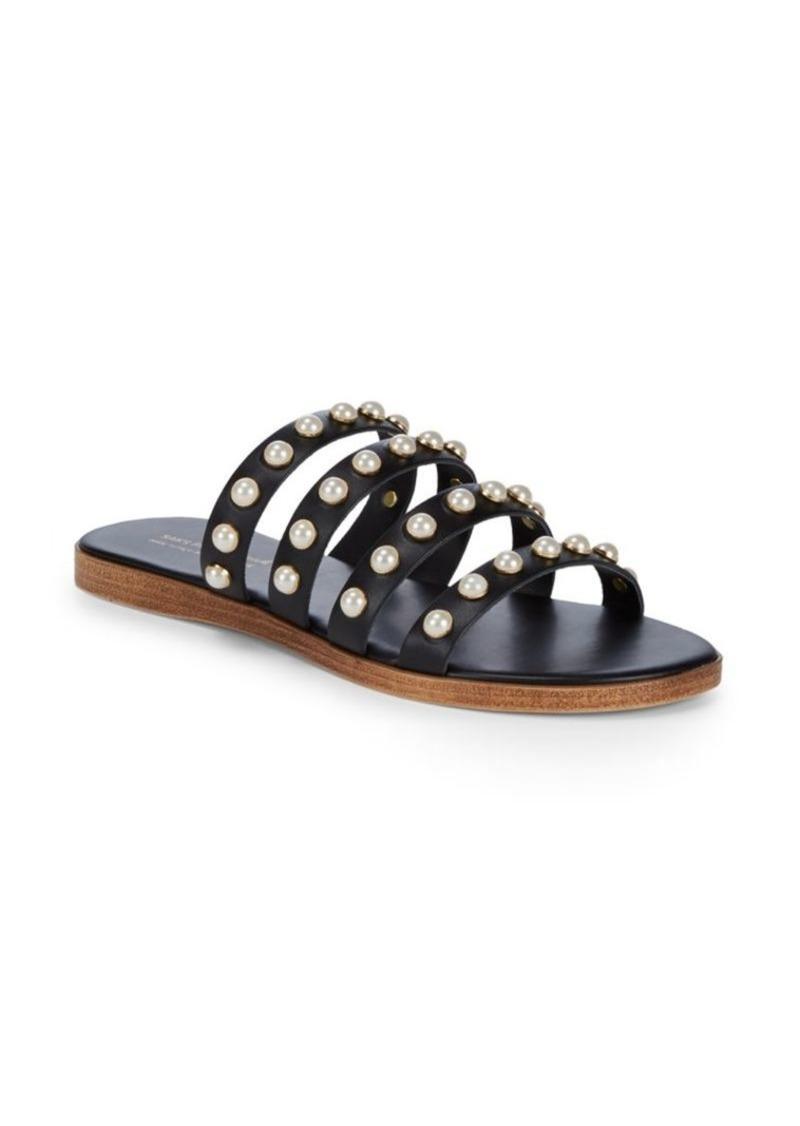 Saks Fifth Avenue Pearl Leather Slides