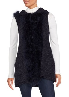 Saks Fifth Avenue Marabou Faux Fur-Trimmed Hooded Vest