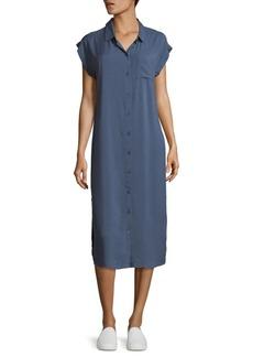 Saks Fifth Avenue BLUE Marianna Solid Cap-Sleeve Shirtdress