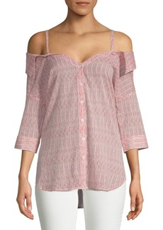 Saks Fifth Avenue Mella Stripe Cold-Shoulder Cotton Button-Down Shirt