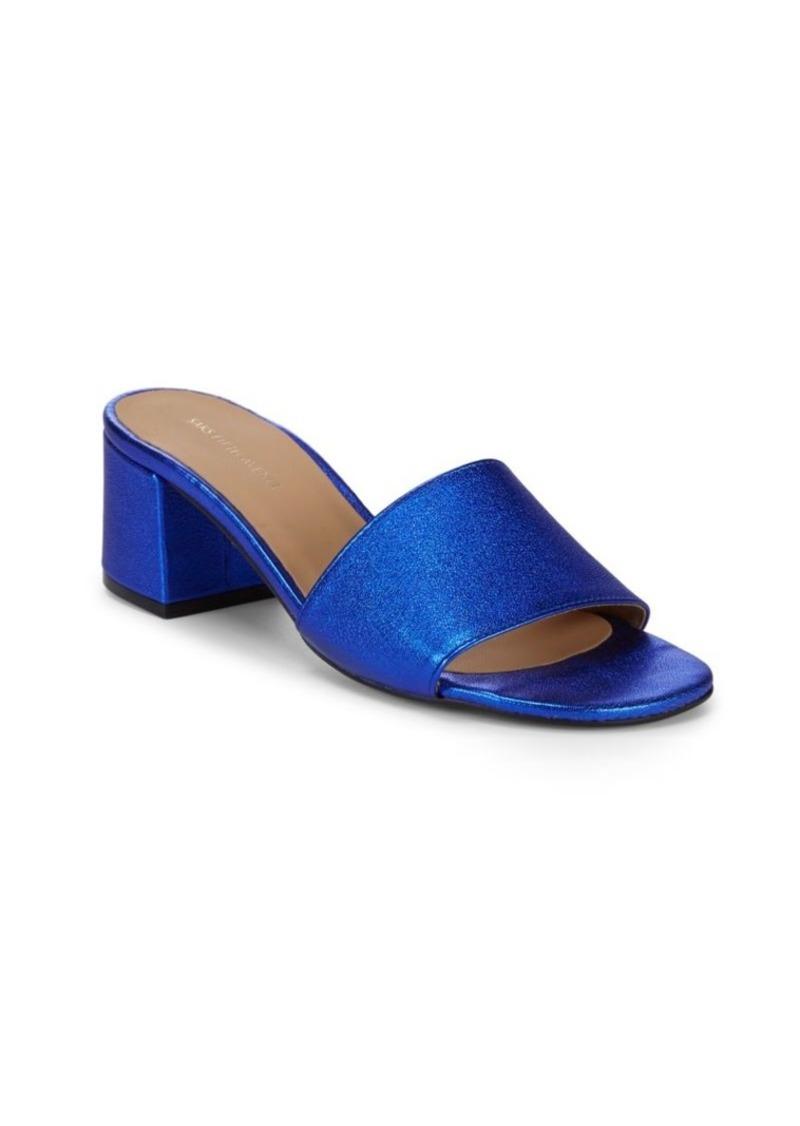 c663502efbb9 SALE! Saks Fifth Avenue Metallic Block Heel Leather Sandals