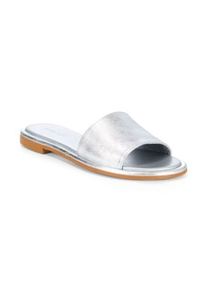 Saks Fifth Avenue Metallic Leather Slides