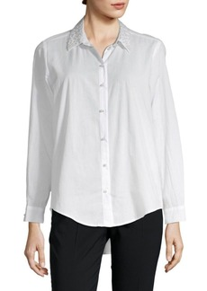 Saks Fifth Avenue Nicole Embellished Cotton Button-Down Shirt