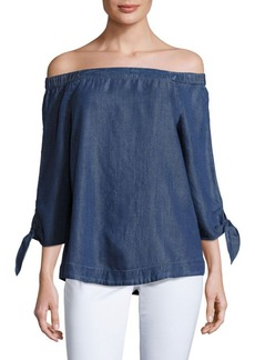 Saks Fifth Avenue Off-The-Shoulder Chambray Top