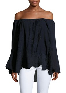 Saks Fifth Avenue Off-The-Shoulder Embroidered Top