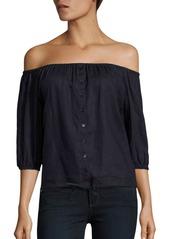Saks Fifth Avenue Off-The-Shoulder Linen Blouse