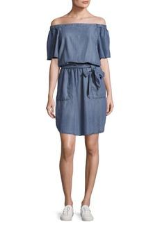Saks Fifth Avenue Off-The-Shoulder Neckline Chambray Dress