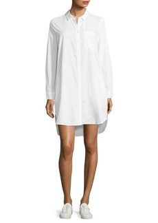 Saks Fifth Avenue Olwyn Solid Cotton Hi-Lo Shirtdress