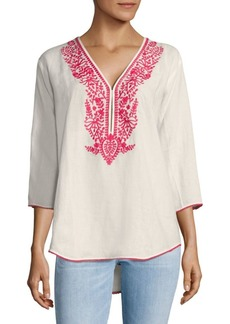 Saks Fifth Avenue Oversized Embroidered Linen Top