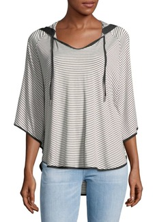 Saks Fifth Avenue Oversized Stripe Hooded Tee