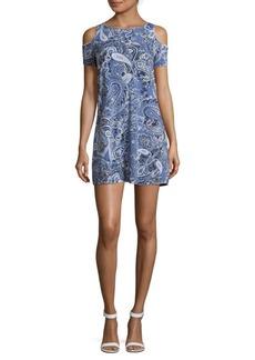 Saks Fifth Avenue Paisley-Printed Cold-Shoulder Dress