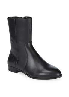 Paneled Almond Toe Leather Ankle Boots