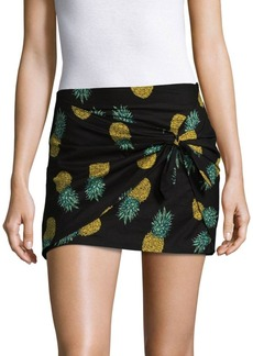 Saks Fifth Avenue Pineapple Cotton Wrap Mini Skirt