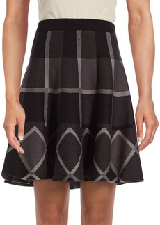 Saks Fifth Avenue BLACK Plaid A-Line Skirt