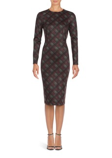 Saks Fifth Avenue Plaid Long Sleeve Sheath Dress