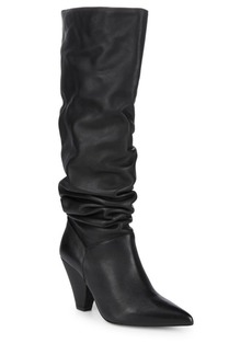 Point Toe Leather Knee-High Boots