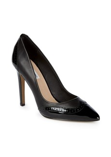 Point-Toe Wing Tip Leather Pump