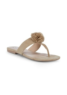 Saks Fifth Avenue Pom-Pom Leather Thong Sandals