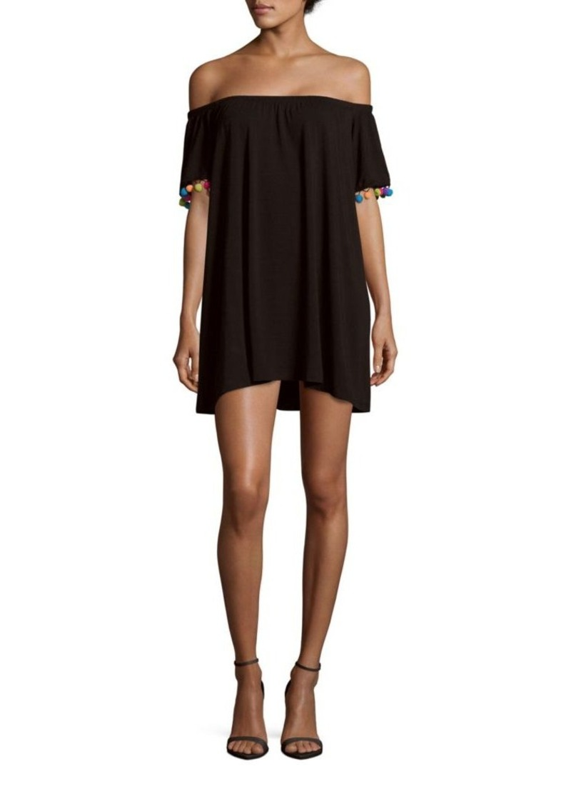Saks Fifth Avenue Pom-Pom Trim Solid Off-The-Shoulder Dress
