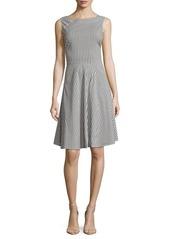Saks Fifth Avenue BLACK Poplin Striped Sleeveless Dress