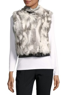 Saks Fifth Avenue Rabbit Fur Moto Vest