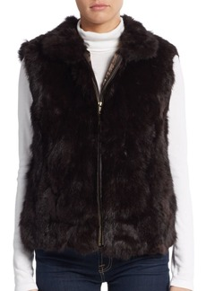 Saks Fifth Avenue Rabbit Fur Zip Vest
