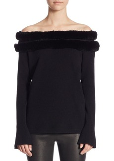 Saks Fifth Avenue COLLECTION Rabbit Trim Off-The-Shoulder Sweater